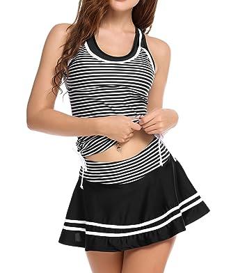 48c61e5ee00 Ekouaer Girls Monokini Swimwear Striped Vintage Swim Dress Swimsuit  Beachwear S-XXL