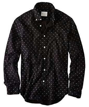 06351f7d8683 American Eagle Mens Printed Poplin Button-Down Shirt Black Print (Medium)