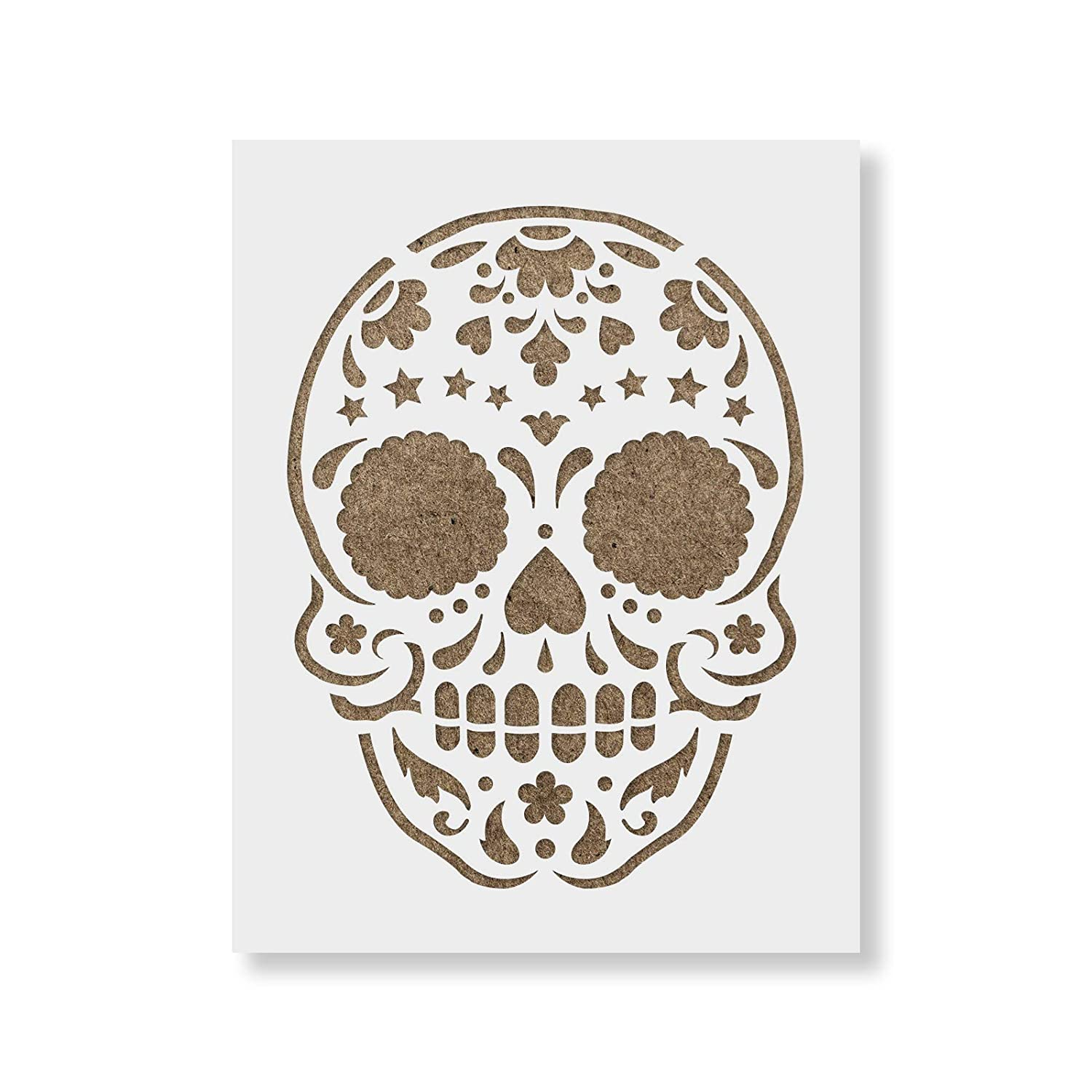 Sugar Skull Starry Stencil Template for Walls and Crafts - Reusable Stencils for Painting in Small & Large Sizes Stencil Revolution