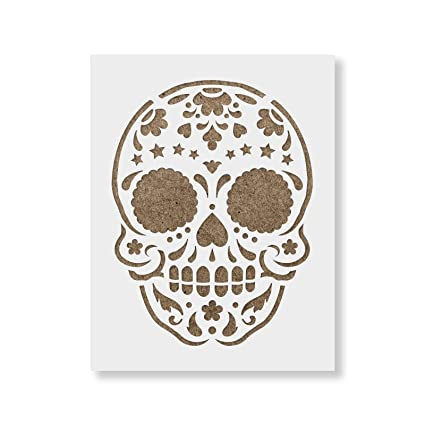 amazon com sugar skull starry stencil template for walls and crafts