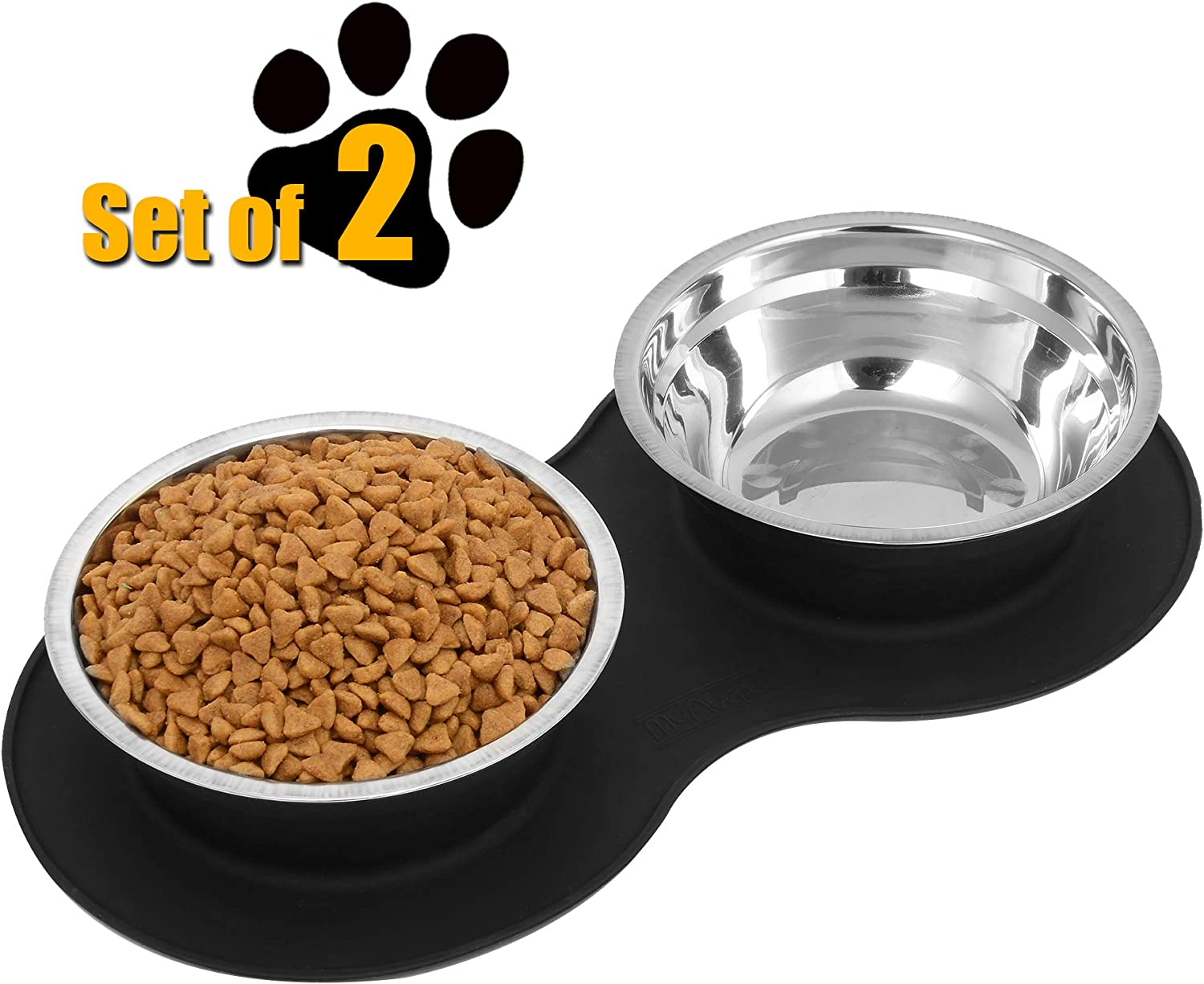 2x Silicone Food Bowls with Suction,Non Slip Round Feeding Bowls for Baby