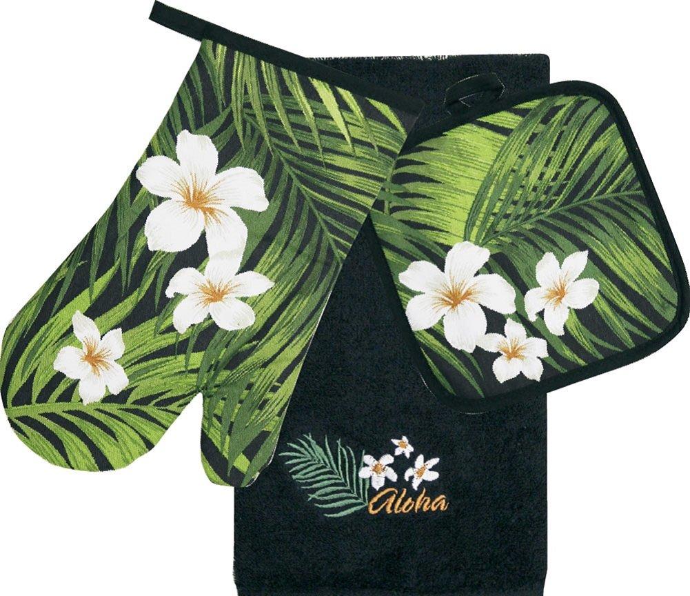 Hawaiian 3 Piece Kitchen Set Dish Towel & Potholder & Oven Mitt Plumeria Palm