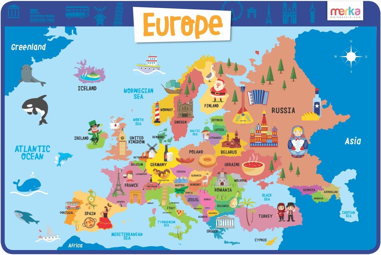 Manteles Individuales Educativos para Niños - Lavables Salvamanteles Individuales Resistentes y Reutilizables para la Mesa de Comedor de Cocina (Europa): Amazon.es: Juguetes y juegos