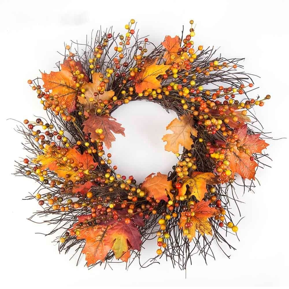 Sannysis Thanksgiving Day Large Wreath with Berry Maple Leaf Fall for Door Wall Ornament Garland Decoration 19.69inch (A) SANNYSIS_W312