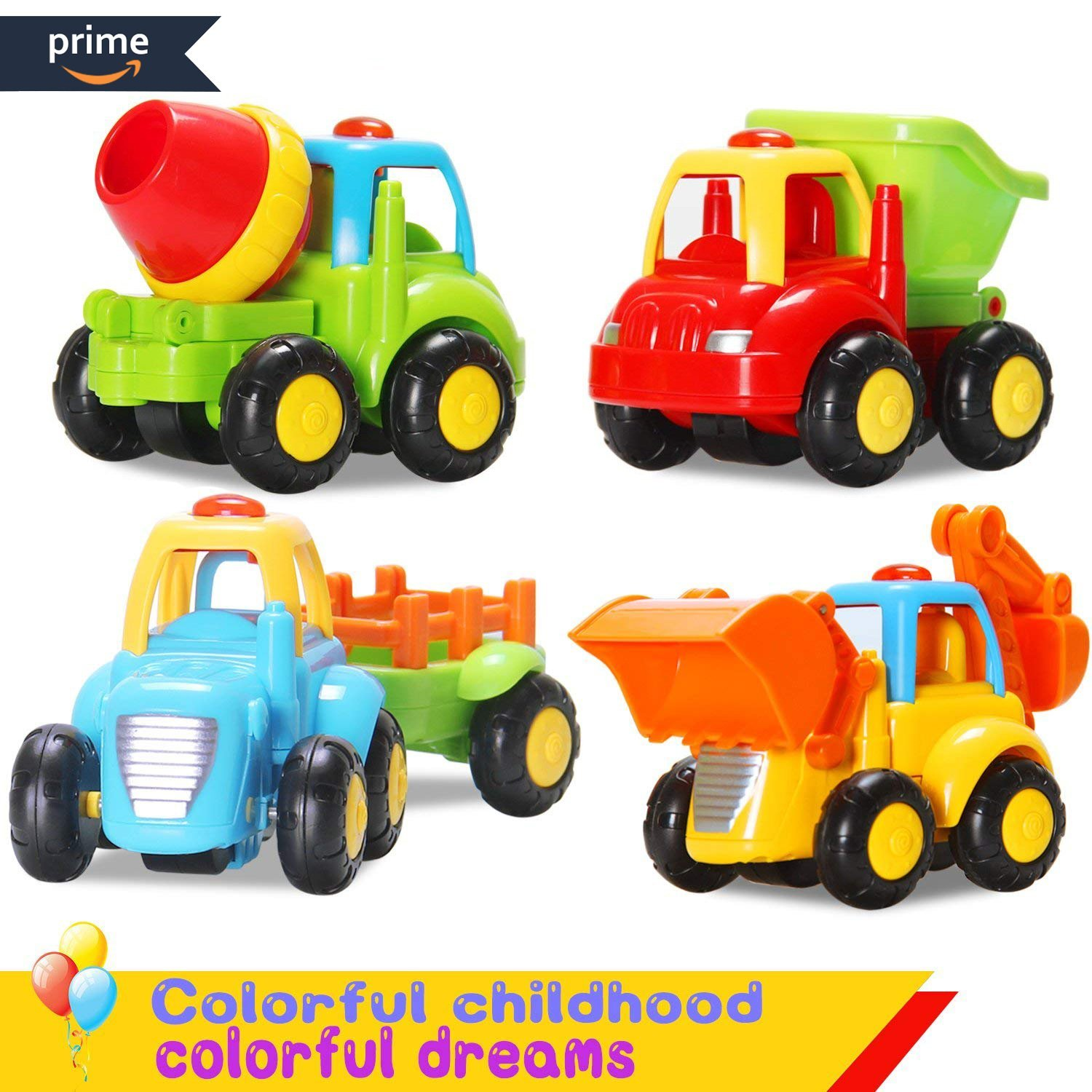 Push and Go Friction Powered Car Toys Early Educational Toddler Baby Toys Sets of 4 PCS -Tractor,Bulldozer,Cement Mixer&Dumper Construction Engineering Vehicles Sets Toys For Children's Best Gifts ACTRINIC