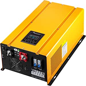VEVOR Pure Sine Wave Power Inverter 5000W Low Frequency Inverter Peak 15000W Pure Sine Inverter Charger 24VDC 120VAC with Battery AC Charger,Off Grid Low Frequency Solar Inverter for Lithium Batteries