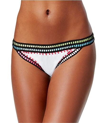 c0fcd2fc97d19 Bar III Womens Weave It Crochet Trim Bikini Swim Bottom Separates White M