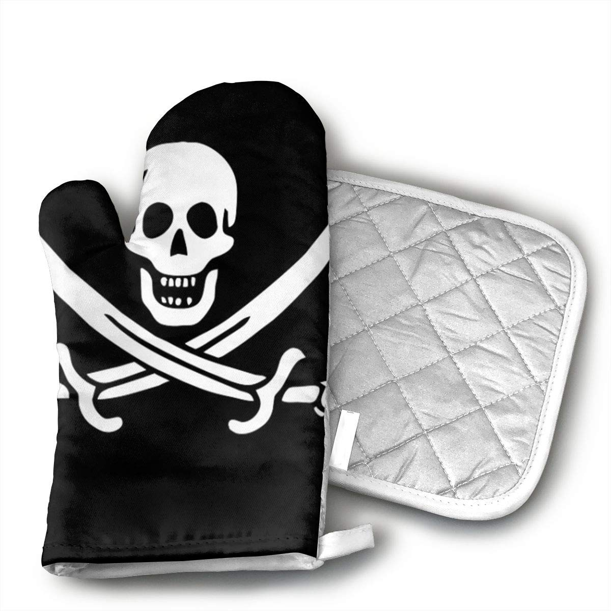 QEDGC Danger Pirate.jpg Oven Mitts Kitchen Cooking Cotton Microwave Oven Gloves Mitts Pot Pad Heat Proof Protected Gloves