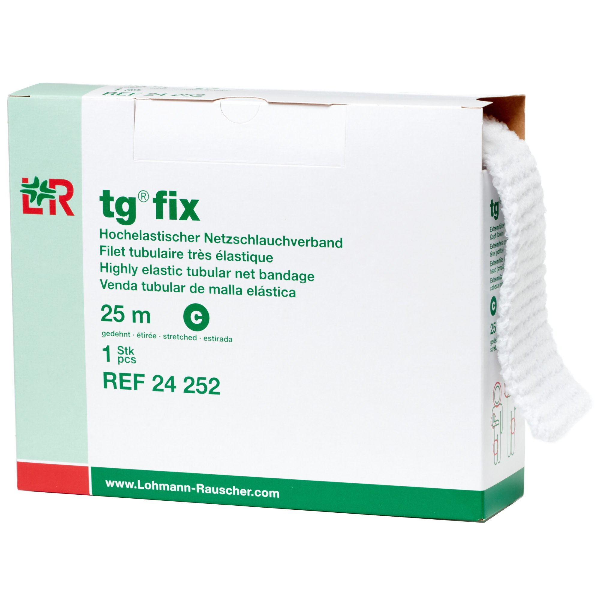 tg Fix Net Tubular Bandage, Elastic Net Wound Dressing, Bandage Retainer for Large Extremities, Size C (65.0 cm When Stretched x 2.5 m)