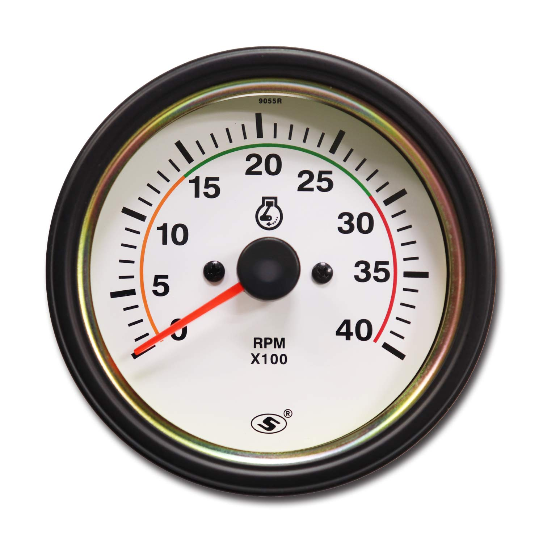 MOTOR METER RACING Universal Tachometer for Alternator 3-3/8'' 4000 RPM White Dial in Dash by MOTOR METER RACING