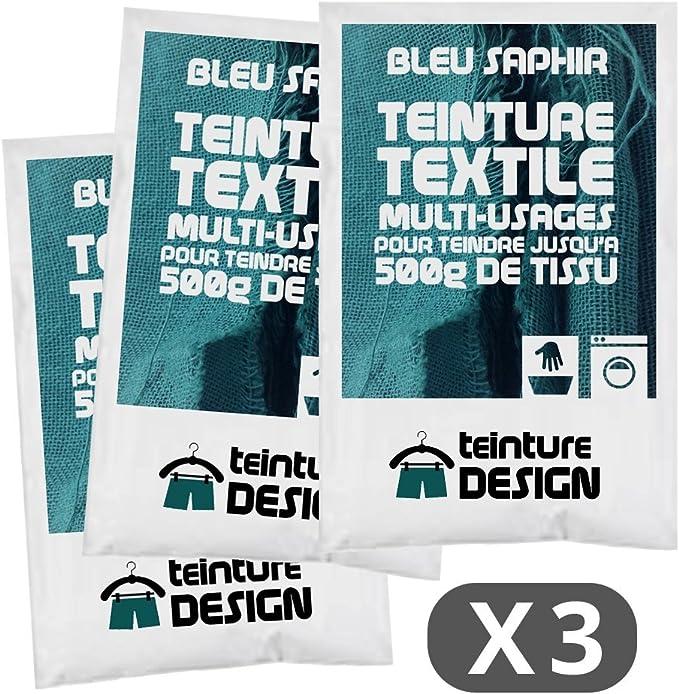 Lote de 3 bolsas de tinte textil – azul zafiro – Tintes universales para ropa y tejidos naturales
