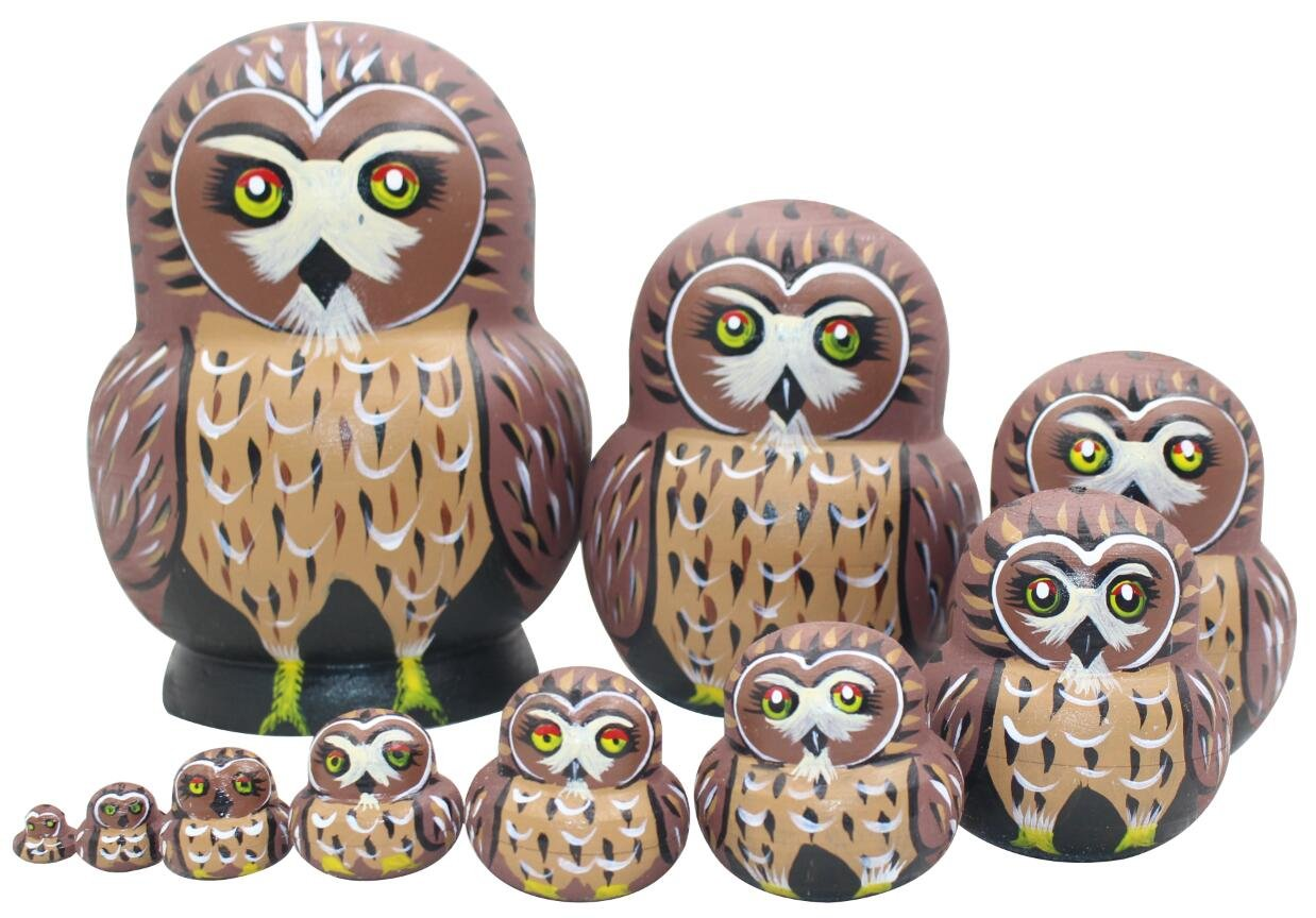 Perfect Mother's Day Gift Cute Vivid Big Belly Shape Red Round Eyes Brown Owl Handmade Wooden Russian Nesting Dolls Matryoshka Dolls Set 10 Pieces For Kids Toy Birthday Christmas Gift Home Decoration