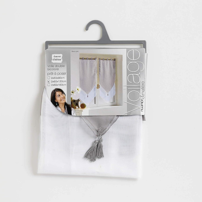 120 cm Gris 120 Douceur dInt/érieur 1620387 Paire Pompon Voile Bicolore Blanc