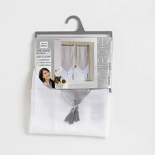 color Blanco//Amande Douceur dInt/érieur talla 2 x 60 x 12 x 60 cm Cortinas con acabado triangular Douceur DInterieur 1362768