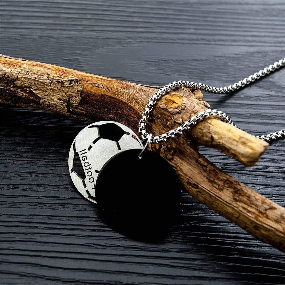 dise/ño de bal/ón de f/útbol con Grabado en c/írculo Collar 2 en 1 para Hombre y Mujer Doble medallas Vioness Acero Inoxidable