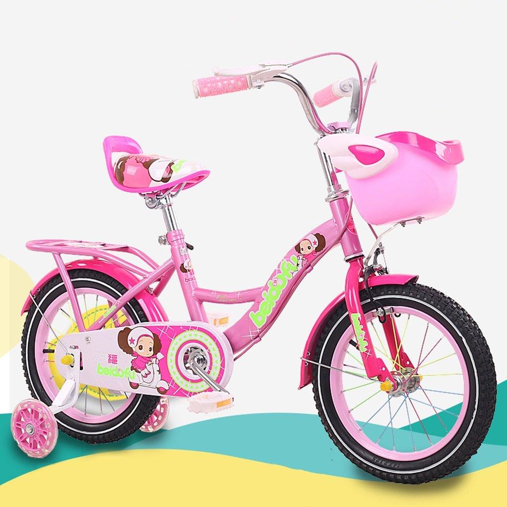 子供用自転車12/18インチベビーガールベビーキャリア2-4-6-9赤ちゃんサイクリング高炭素鋼、紫/ピンク/赤 (Color : 18 inch pink) B07D1KF4HB
