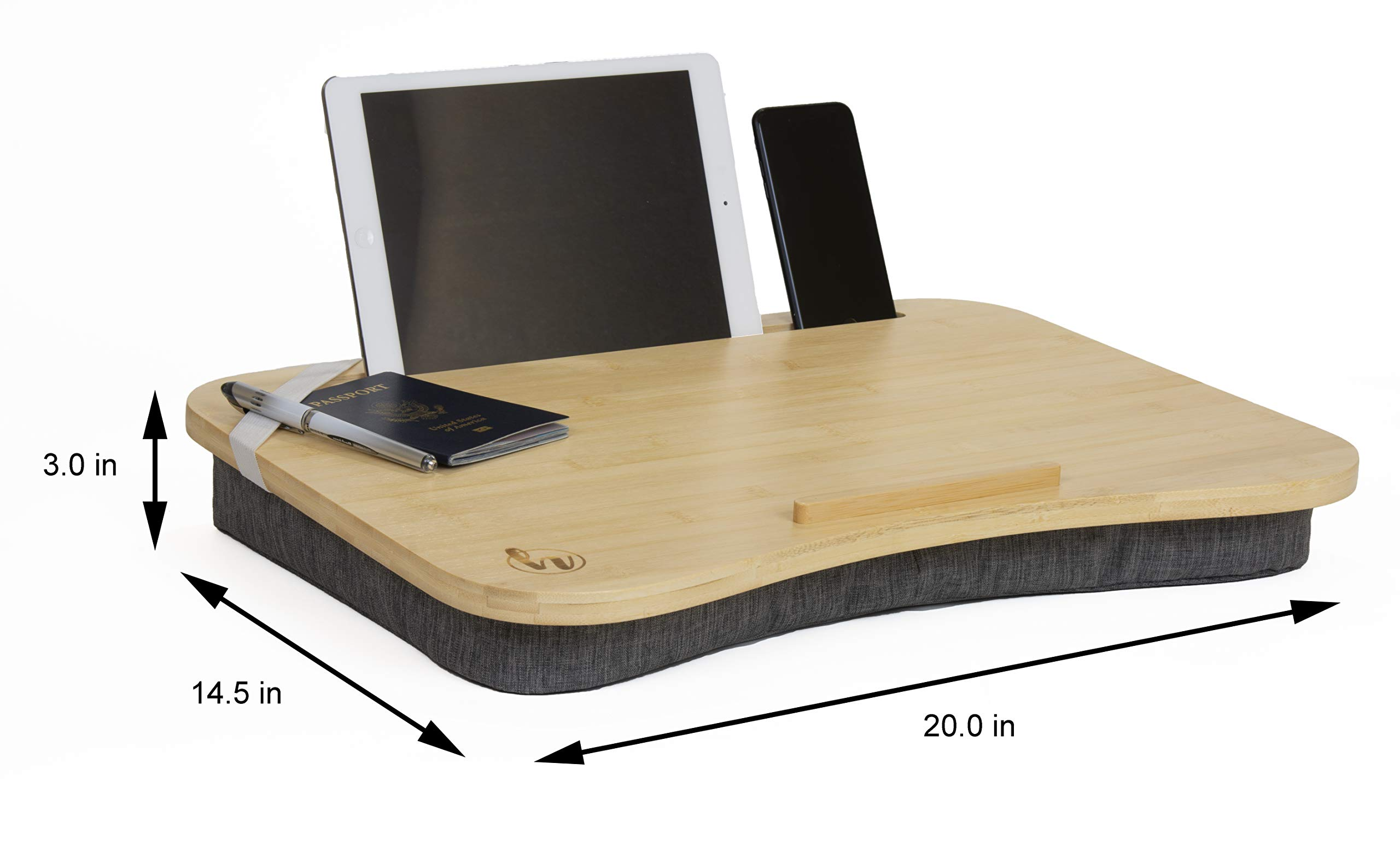Lap Desk by Hultzzzy - Large 100% Natural Bamboo Surface - Fits up to 17 Inch Laptops - 15'' Tablets - Pen & Phone Holder - Mouse Pad Accessible - Cushion Foundation by Hultzzzy (Image #6)