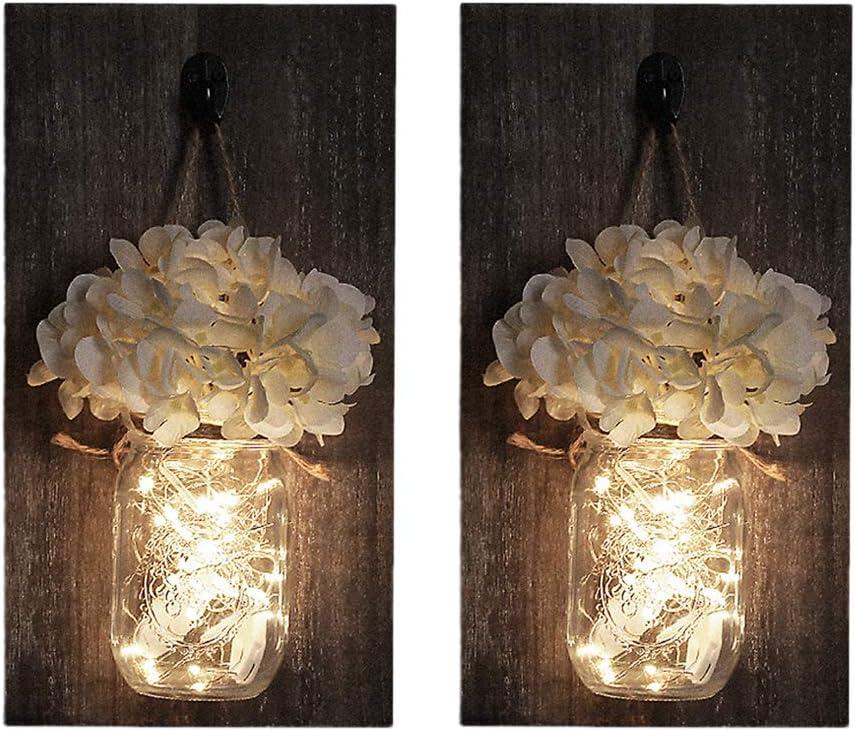 VOSAREA Decoración Aplique de Pared, Luces LED con Control Remoto, Ganchos de Hierro Forjado, tableros de Madera, Flores de Seda