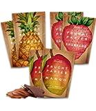 Frutta essiccata in confezione da 6 buste (6x40g) - snack a base di frutta: ananas, mele, mango, fragole, essiccata all'aria aperta - frutta essiccata
