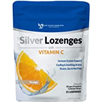Silver Lozenges with Vitamin C - Premium Nano Silver 60 PPM Colloidal Silver, Organic Honey and Vitamin C Mineral Supplement Drops to Support Immune System, Soothe Cough & Throat - 21 Orange Lozenges