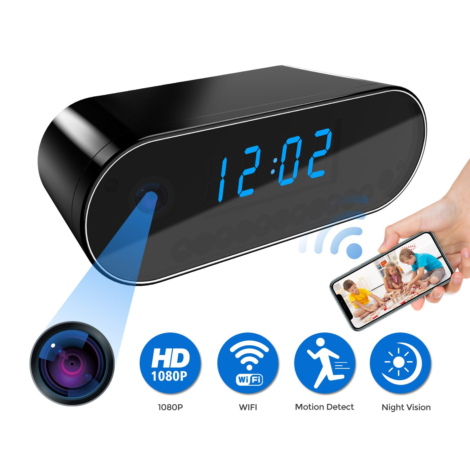 Camera Clock, Mini Security Camera Clock, 1080P Wireless WIFI Security Camera clock with Night Vision and Motion Detection, Wireless Camera for Home Security Surveillance with Free APP by Saleward