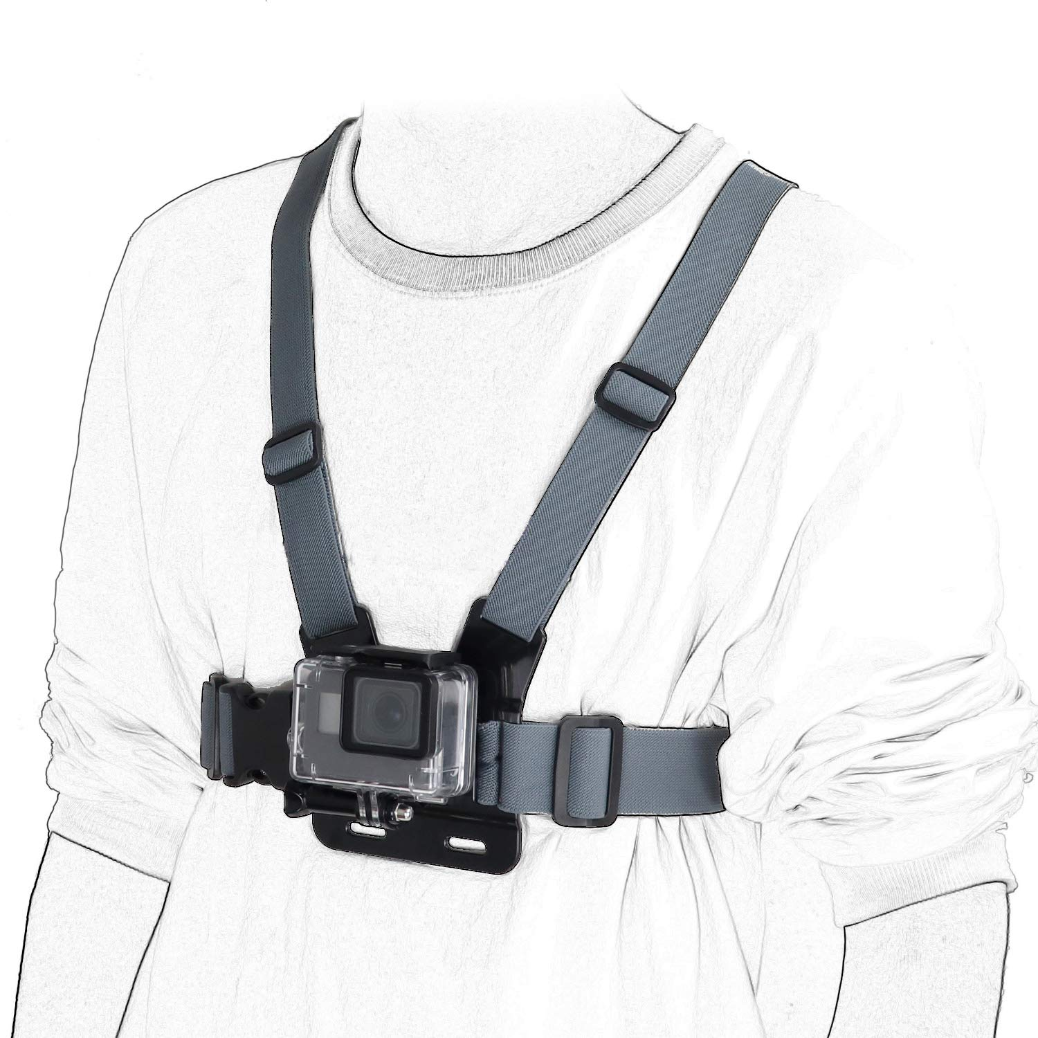 Session Kitway Chest Mount Harness Session,3+//3//2//1 Hero 4 Adjustable Chest Strap Elastic Action Camera Body Belt with J Hoot Compatible with Akaso EK7000//DJI Osmo Pocket//Gopro Hero 7//6//5 Black