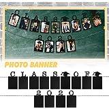 LINGPAR Class of 2020 Photo Banner - Congrats Grad Black Perfect Graduation Decor Party Supplies