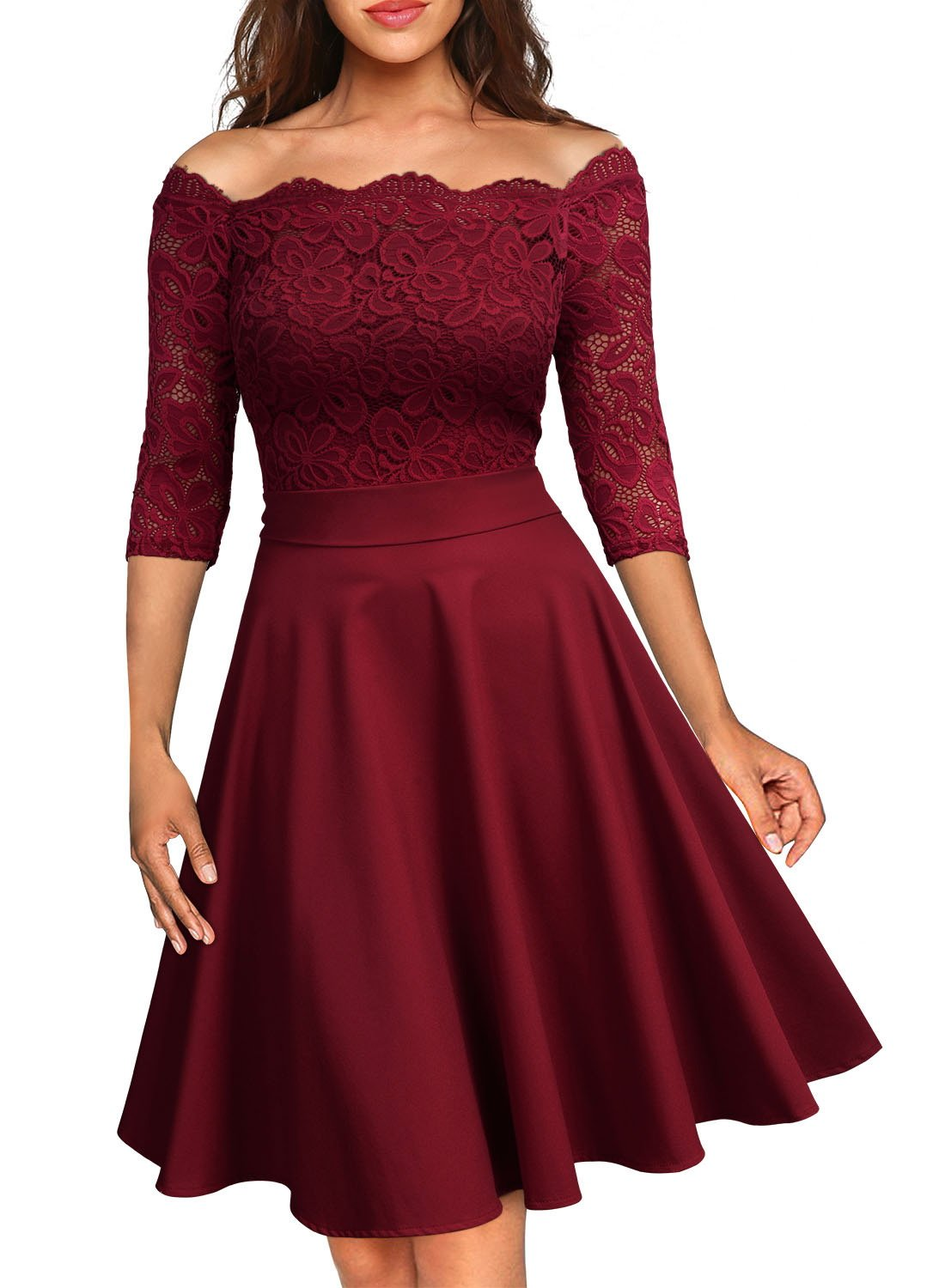 MissMay Women's Vintage Floral Lace Half Sleeve Boat Neck Cocktail Formal Swing Dress (X-Large, D-Wine Red)