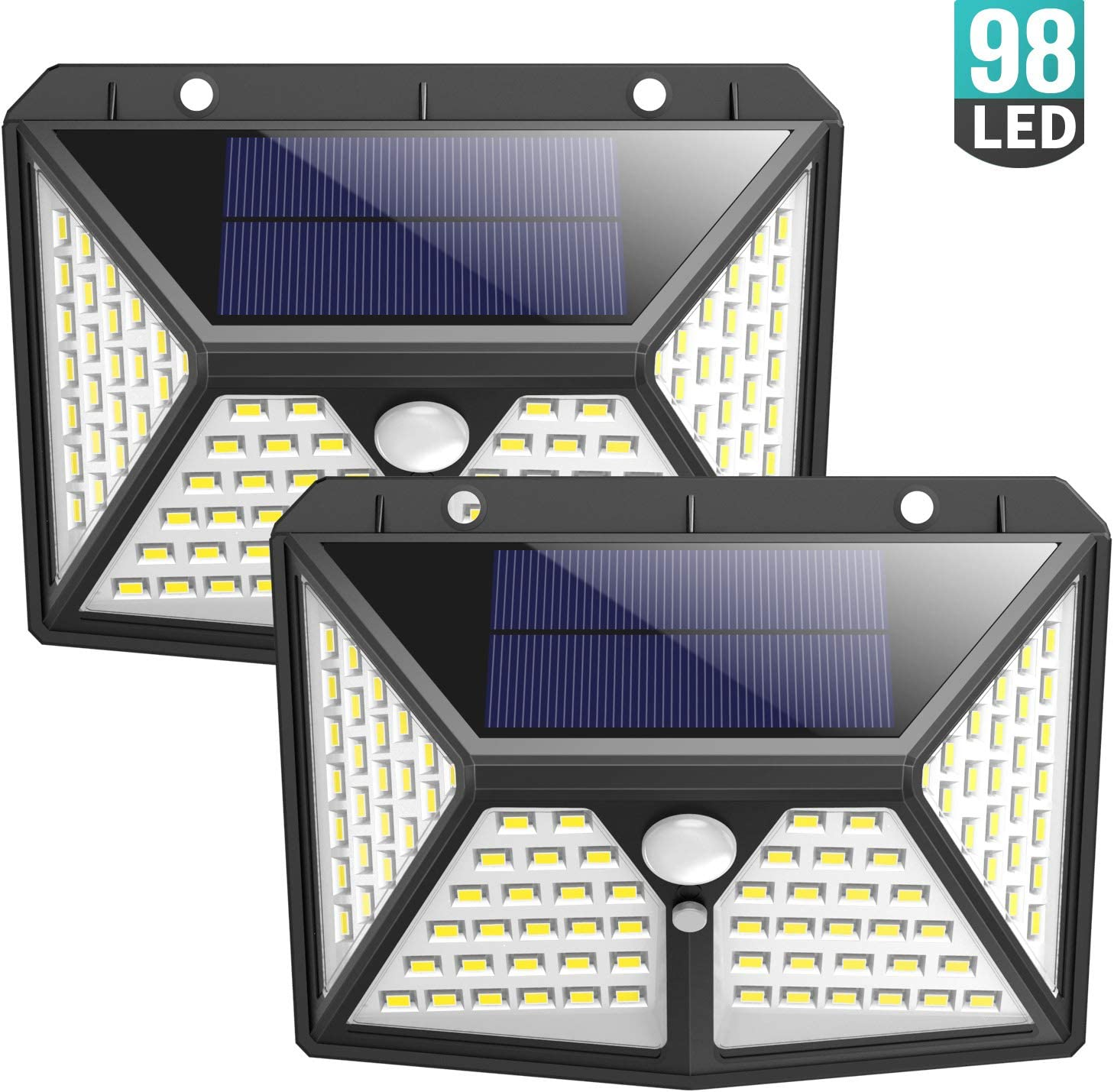 Solar Lights Outdoor 98 LED, Gixvdcu Solar Motion Sensor Lights 3 Modes 270 Wide Angle IP65 Waterproof Security Wireless Wall Light for Outdoor, Garden, Patio Yard, Deck Garage, Fence 2 Pack