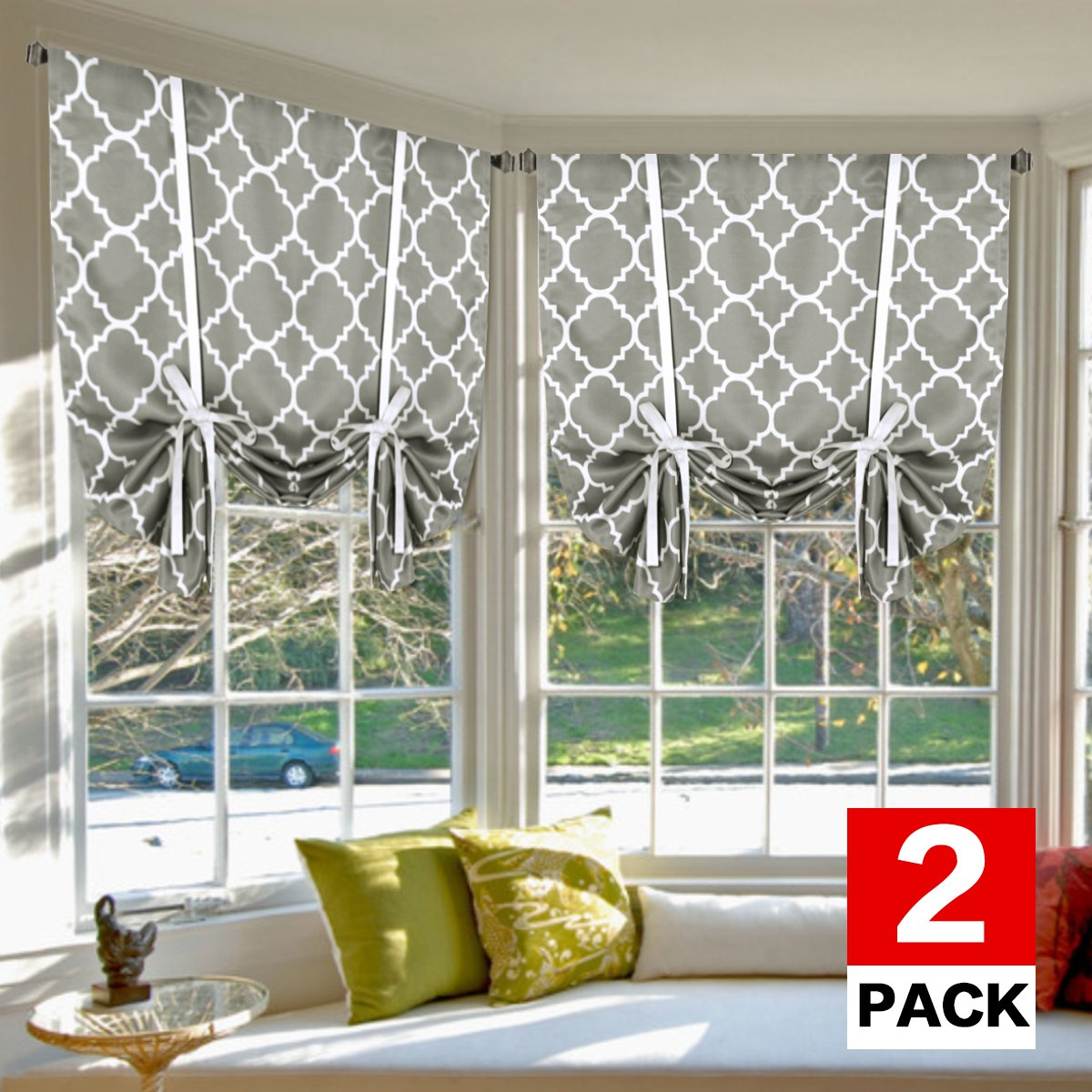 H.VERSAILTEX Blackout Curtains Thermal Insulated Blind (2 Panels) - Printed Moroccan Dove Pattern Room Darkening Tie Up Panels Adjustable Window Shades for Living Room, Rod Pocket, 42 x 63 Inch Long