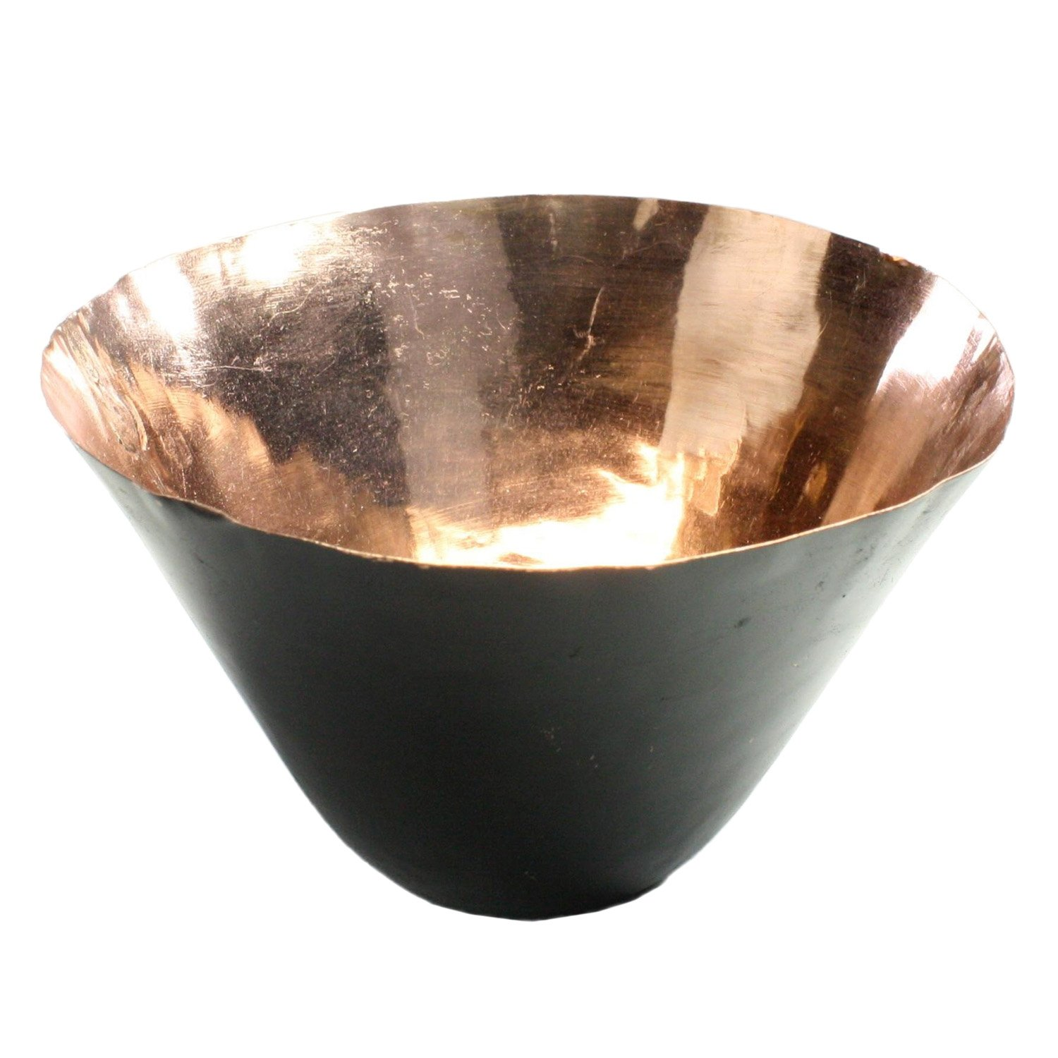 Conical Metal Bowl, Candle Holder, Black & Copper