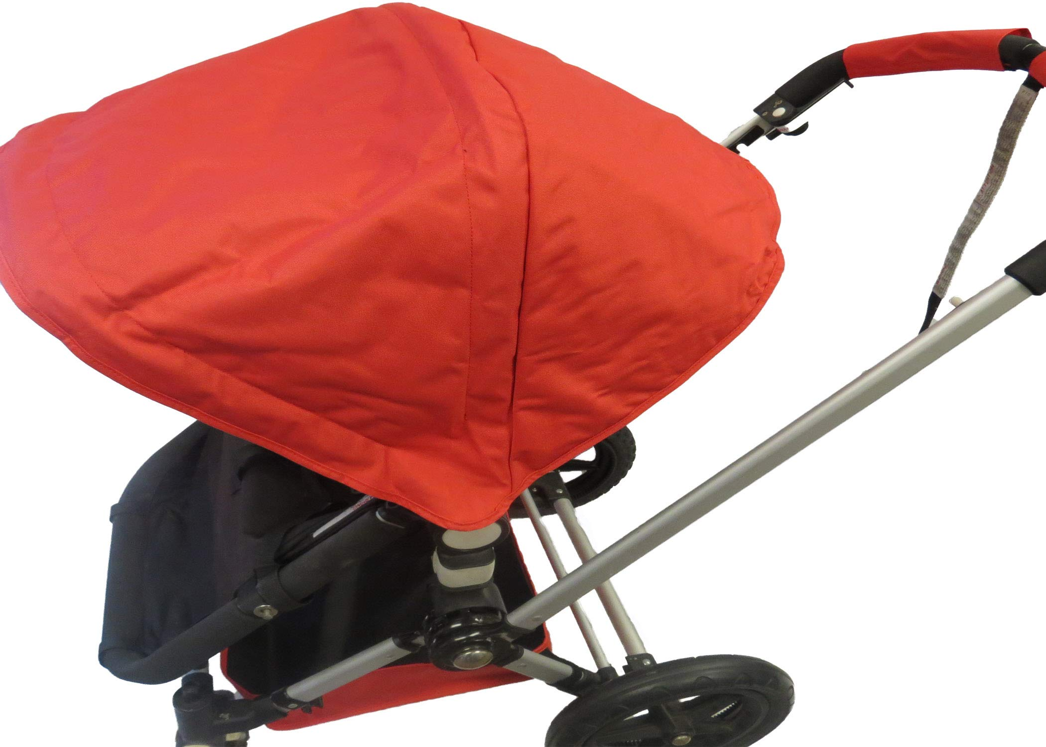 Red Sun Shade Canopy and Large Under Seat Storage Basket Plus Free Handle Bar Covers for Bugaboo Cameleon 1, 2, 3, Frog Baby Child Strollers