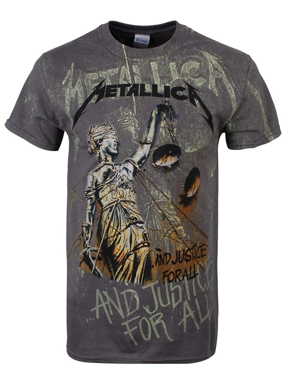 9bd304572e484 Metallica Camiseta Justice Neon de Manga Corta de (Gris)