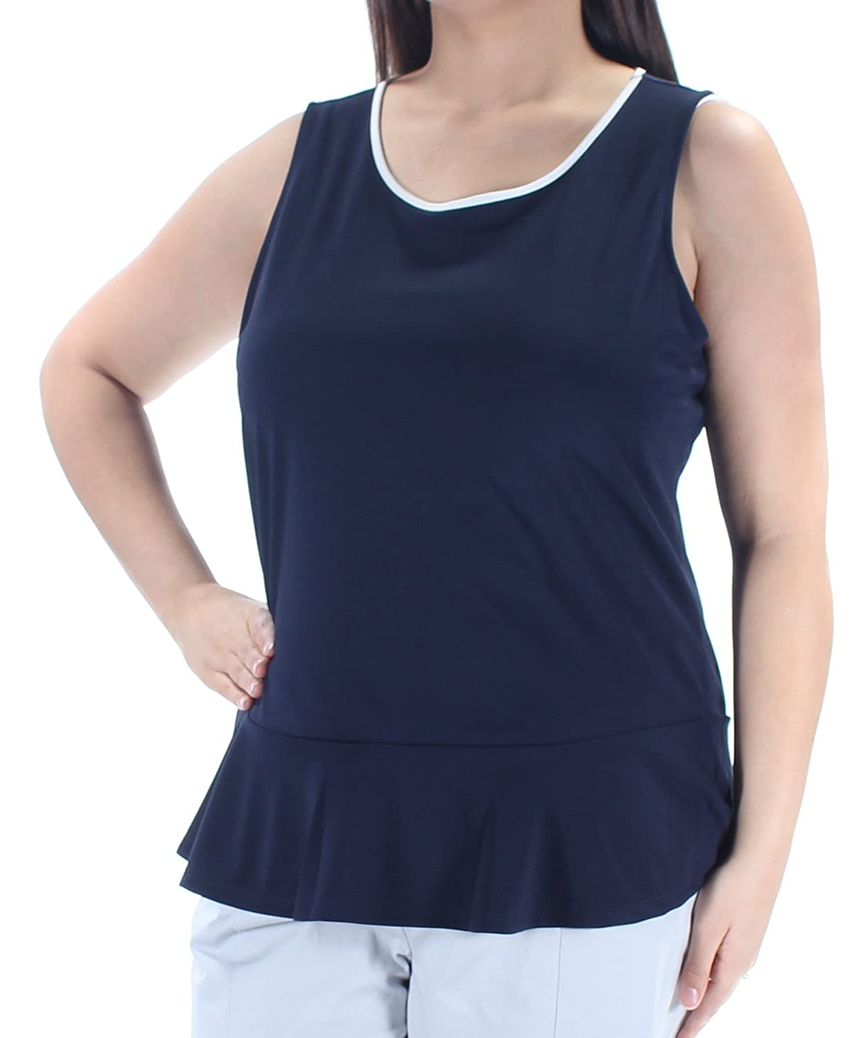 f0edf35a2132 Tommy Hilfiger  49 Womens New 1361 Navy White Color Block Ruffled Top XL  B+B at Amazon Women s Clothing store
