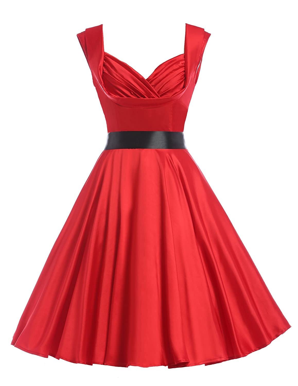 GRACE KARIN Damen 50s Vintage Retro Rockabilly Kleid Swing Kleid Partykleid Strandkleid CL6030