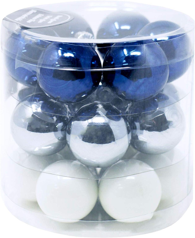 18 Weihnachtskugeln Glas Ø3cm Mini Christbaumkugeln Set Silber Glänzend Matt Mix