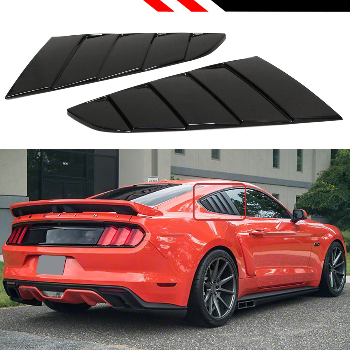 Cuztom tuning fit for 2015 2019 ford mustang gt ecoboost premium gt350 painted glossy black 1 4 quarter window louver side vent scoop