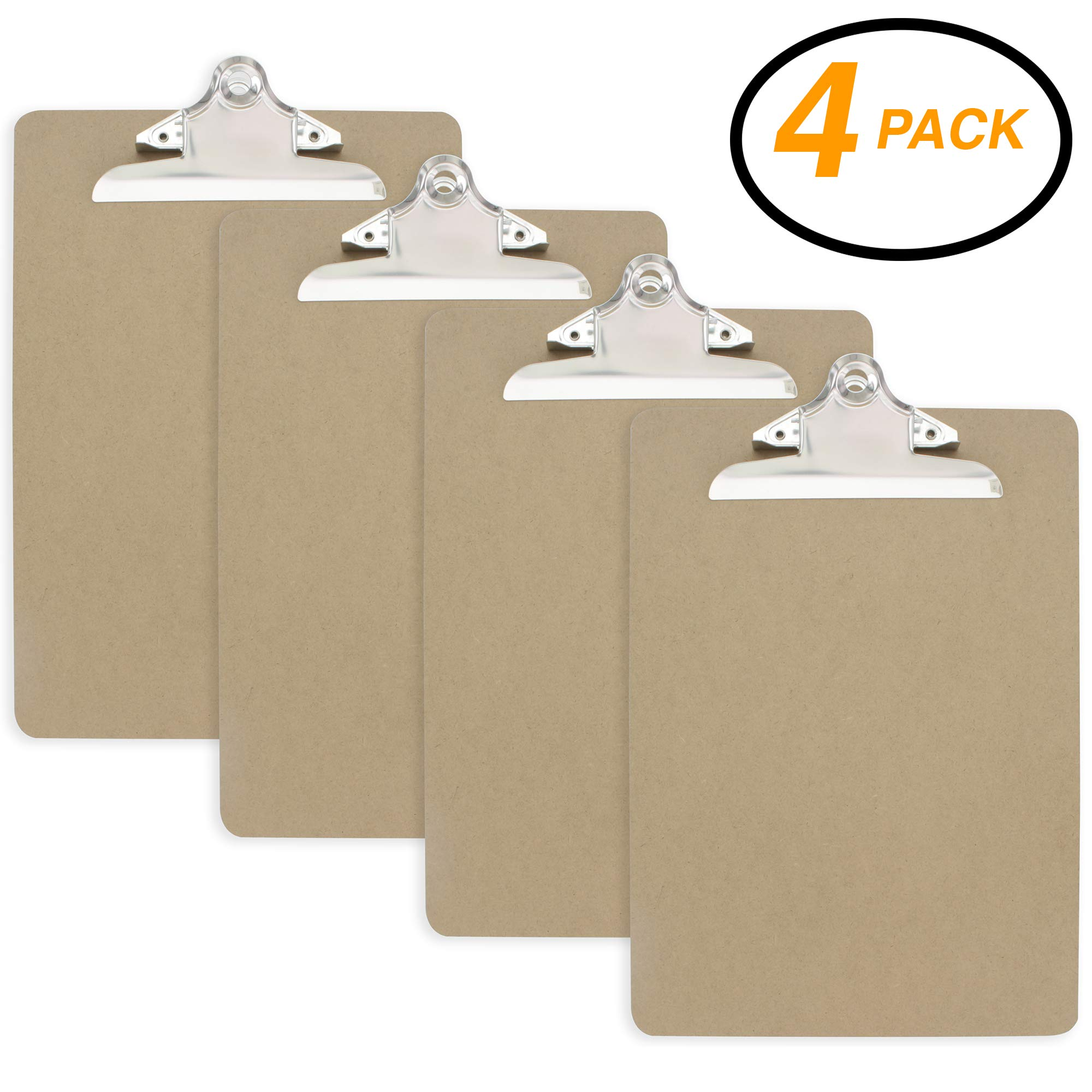 Emraw Standard Size Wooden Clipboards Flat Hanging Hardboard Set with Extra Secure Sturdy Spring Clip for School, Office, Work, Home, Hospital - 4 Pack