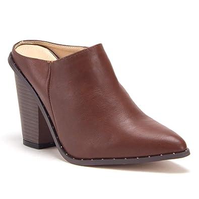 3b7be62da5272 Jazame Women's Pointy Toe Block Heel Slip On Open Back Mules Slides Dress  Shoes