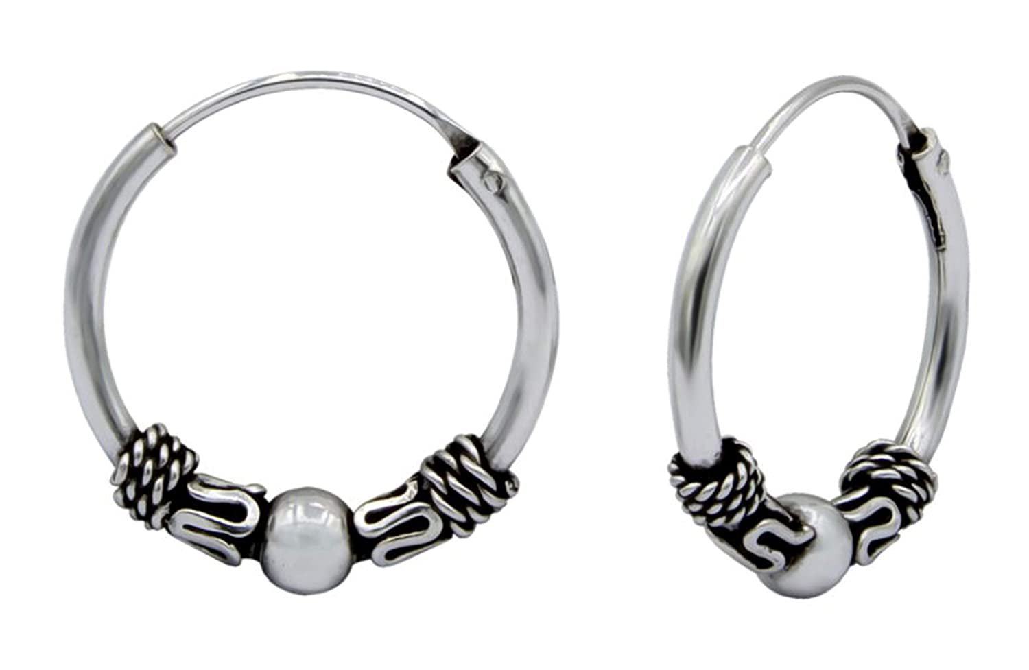 Sterling Silver 925 Bali Hoop Earring 13 mm USA Seller