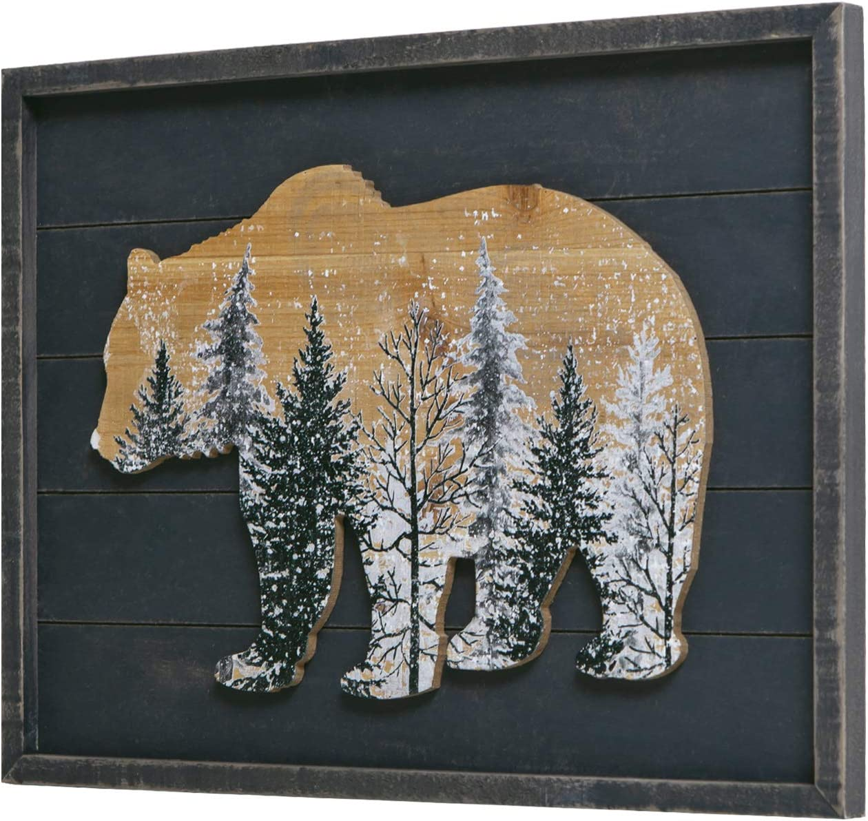 NIKKY HOME Cabin Bear Decor, Rustic Wooden Forest Mountain Woodland Wildlife Lodge Animal Picture Wall Art Bathroom Decor, 12 x 16 Inches