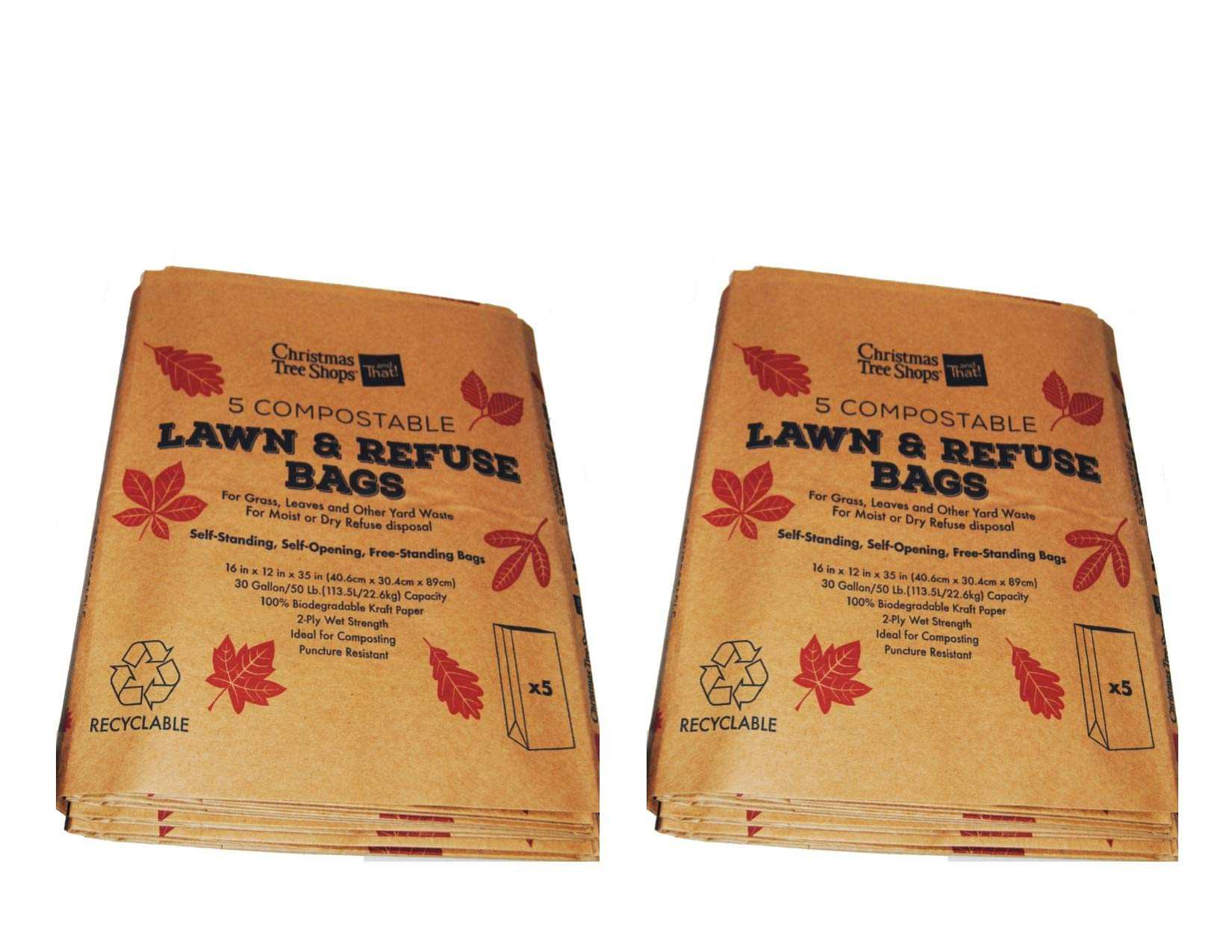 10 Paper Lawn and Leaf Bags (30 gallon) by CTS
