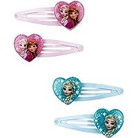 SIX Kids Haarspangen, Haarclips, 4er Set, Frozen, Disney, ELSA, Anna, Herzen, rosa, türkis (304-484)