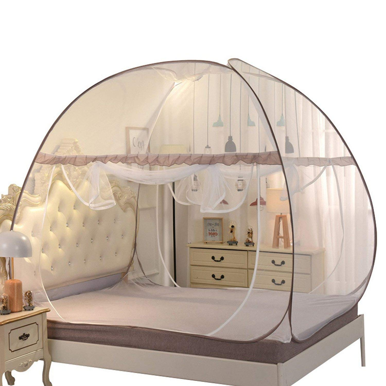 Portable Mongolian Yurt Mosquito Nets Installation Double Door Mosquito Nets Folding Outdoor Camping Mosquito Nets,Coffee,S