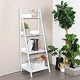 None White Finish 4 Tier Shelves Leaning Ladder Bookcase Bookshelf Display Planter