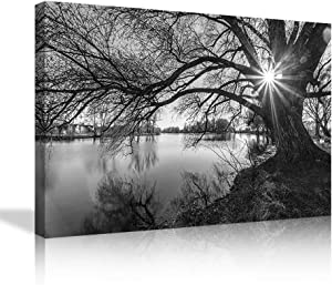Modern Large Panel Canvas Painting Wall Art the Pictures Photo for Home Decor Black and White Tree Silhouette in Sunrise Time Lake Landscape Prints On Canvas Giclee Artwork for Wall Decor
