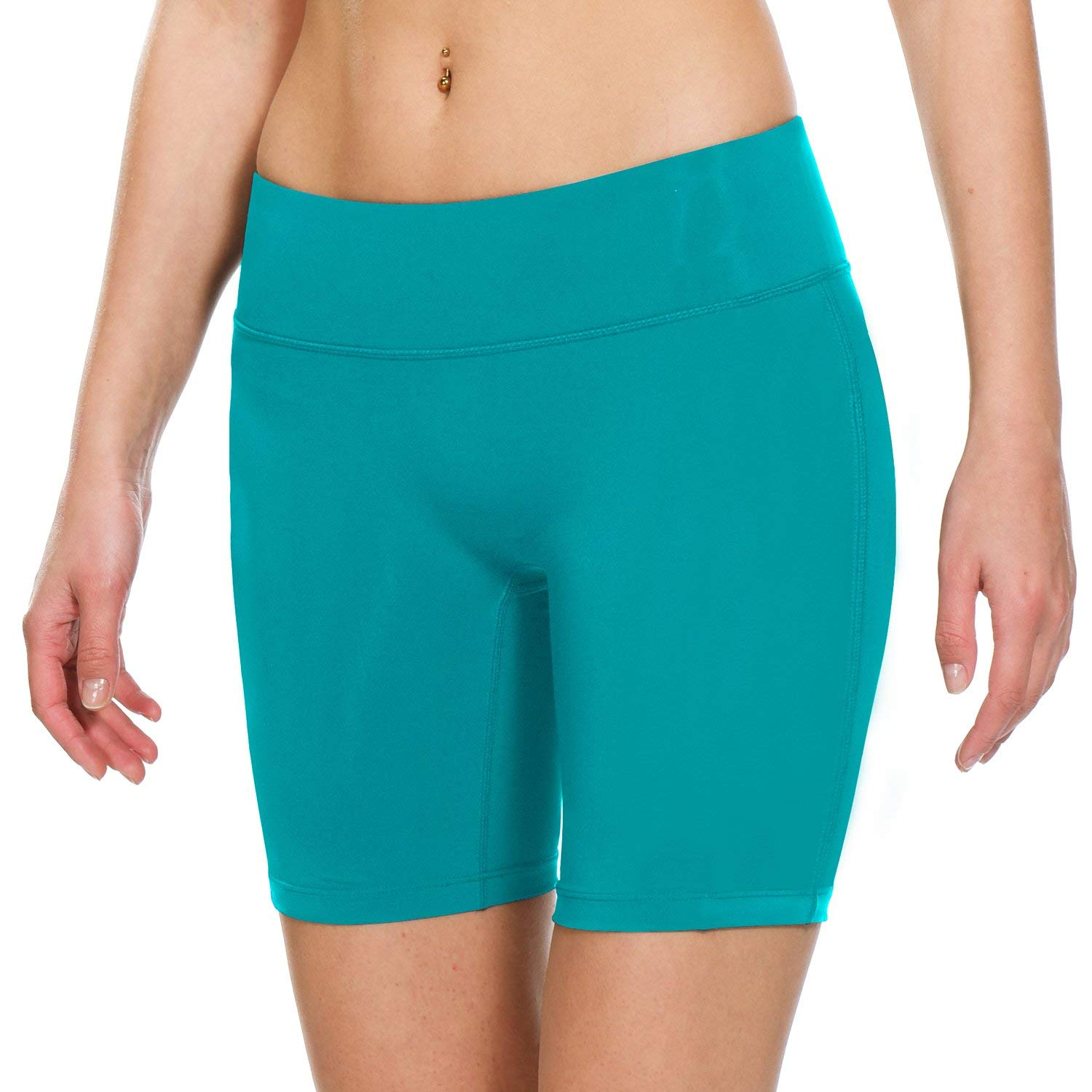 BALEAF Women's 7'' Active Fitness Yoga Running Shorts Pocket Green Size S by BALEAF