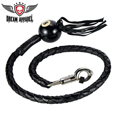 "DealerLeather 42"" Long 1/2"" Diameter Black Motorcycle Get Back Whip with NO. 8 Pool Ball: Sports & Outdoors"
