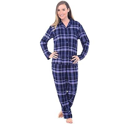 Alexander Del Rossa Women's Warm Flannel Pajama Set, Long Button Down Cotton Pjs, Large Blue Plaid (A0509Q18LG) at Women's Clothing store