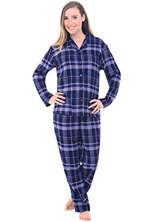 Alexander Del Rossa Womens Flannel Pajamas, Long Cotton Pj Set, Medium Blue Plaid (